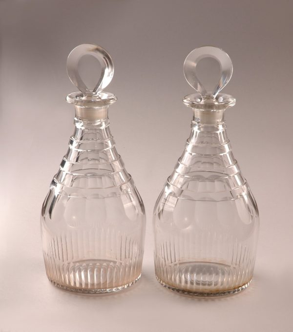Fine Pair George III Cut Glass Decanters