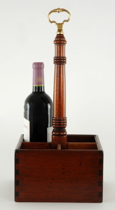 A Regency Mahogany and Brass Mounted Wine Bottle Carrier