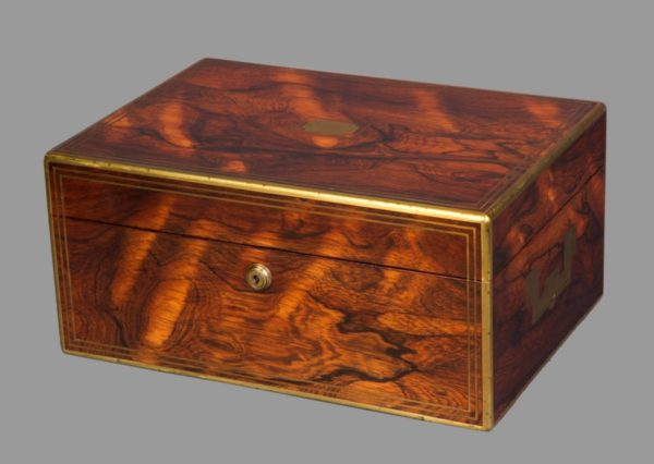 A Fine William IV Brassbound Rosewood Travelling Toilet Box by D. Edwards