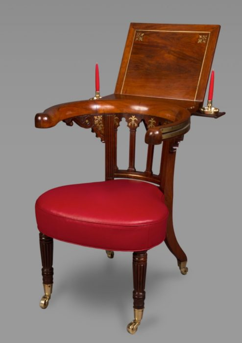 Very Fine Rosewood and Brass Inlaid Regency Library Reading Chair