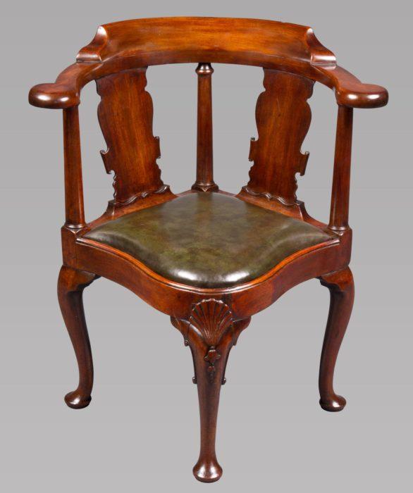 A George I/II Period Mahogany Corner or Writing Chair