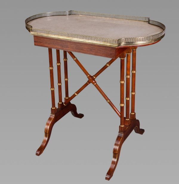 JOHN McLEAN: A Fine Rosewood, Parcel-Gilt, Brass-Mounted and Marble Topped 'Pouch' Table