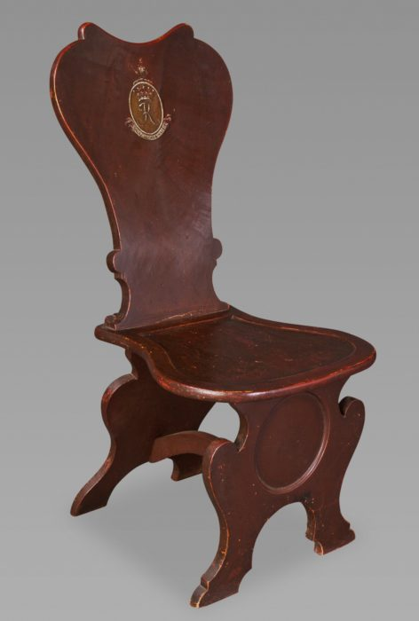 An Estate-Made Oak Spoon-Back Hall Chair for the Earls of Kintore