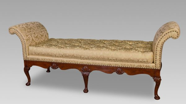 A Rare George II Walnut & Shell Carved Day-Bed