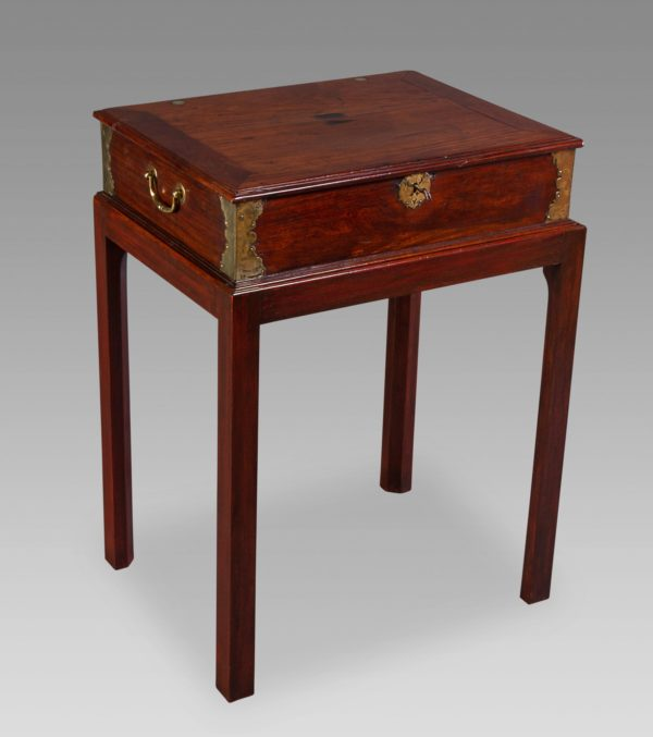Anglo-Chinese Padouk And Brass Mounted Scholars Writing Box