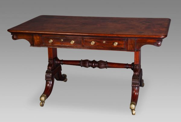 A Superb George IV Fustic Library Table Attributed to Gillows