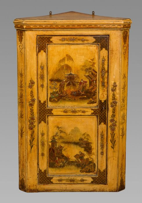 A George I White-Japanned Hanging Corner Cupboard