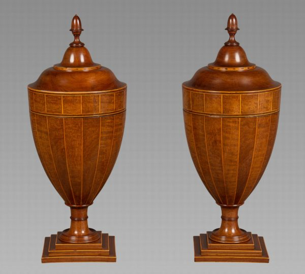 A Very Fine Pair of Chippendale Period Mahogany, Burr Mahogany and Satinwood Strung Cutlery Urns
