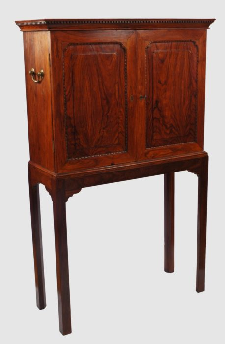 Superb 18th Century Chinese Export Padouk Cabinet on a Stand