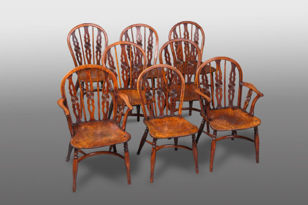 A Very Fine and Rare Set of Eight Yew and Elm Windsor Chairs