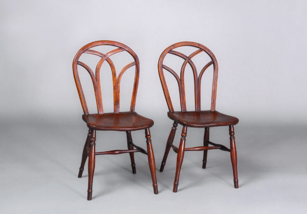 A Good Pair of Early 19th Century Gothic Hoop Back Elm Windsor Side Chairs