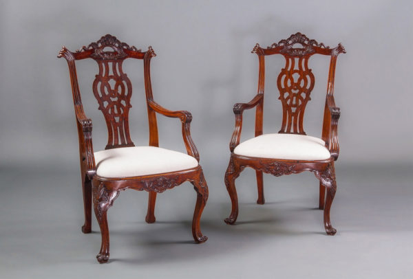 A Very Good Pair of Mid 18th Century Portuguese Rosewood Armchairs in the English Chippendale Style