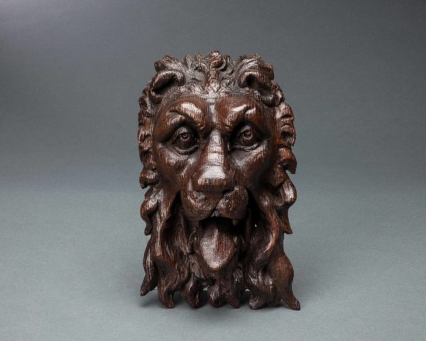 A Superb Elizabeth I Carved Oak Lion Mask Mount