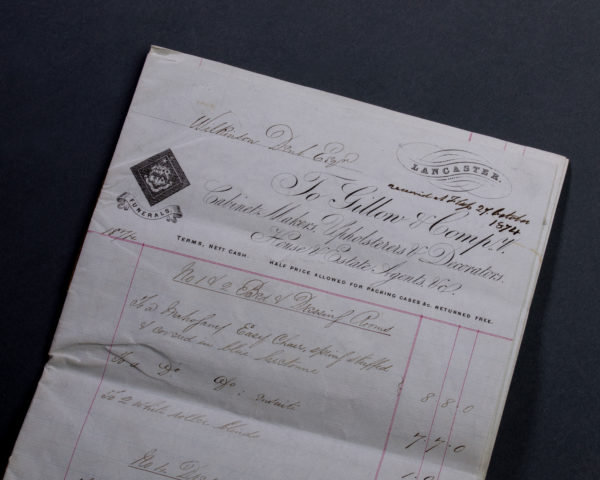 Gillows Furniture and Furnishings Invoice, dated 1874