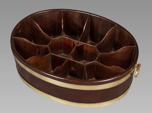 A Fine and Possibly Unique Oval and Brass Bound George III Mahogany Bottle Carrier